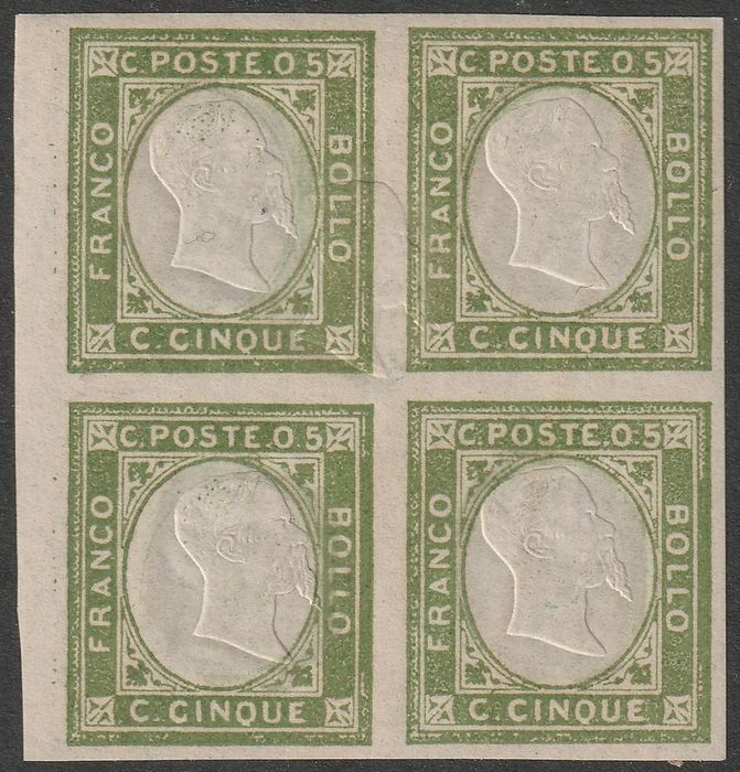 Kingdom of Italy - Neapolitan Provinces Not Issued 1861 - 5 c. block of four with fifth effigy in the centre of the pair at the top, only one known, rarity, 2 - Sassone N.1f+1