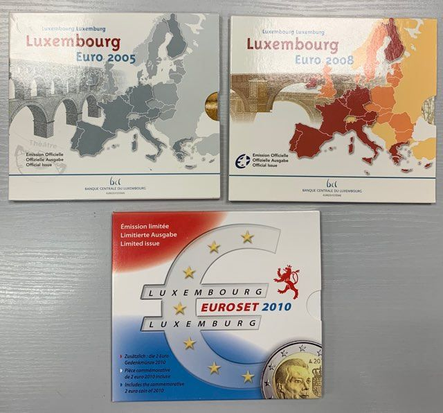 Luxembourg. Yearsets Eurocoins 2005, 2008 et 2010 BU (3 sets)