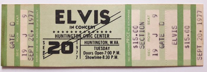 Elvis Presley - Elvis In Concert at the Huntington Civic Center - September 20, 1977 (green color version) - Ticket officiel (concert) - 1977/1977
