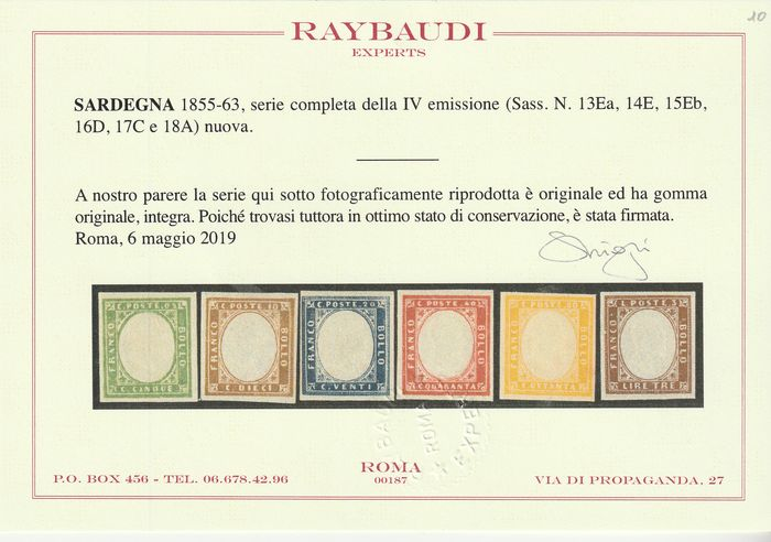 Italian Ancient States - Sardinia 1855/63 - 4th issue Complete intact set with good margins, rare, luxury, certified - Sassone NN.13Ea+14E+15Eb+16D+17C+18A