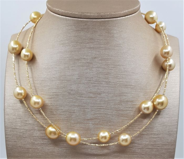 United Pearl -  10x13mm Golden South Sea Pearls - 18 kt Gelbgold - Halskette