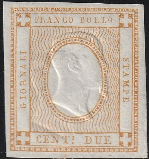 Königreich Italien 1862 - Experimental stamp 2 c. not issued, with double effigy, good margins, intact, certified rarity - Sassone N.10S VAR