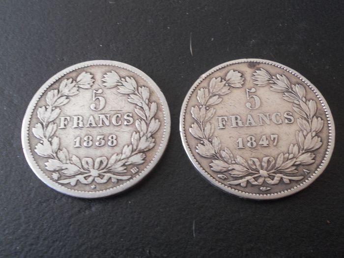 France. Louis Philippe I (1830-1848). 5 Francs 1838-BB et 1847-A (lot de 2 monnaies)
