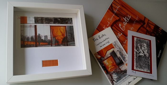 Christo and Jeanne Claude - The Gates + The Gates signed and framed art card - 2005