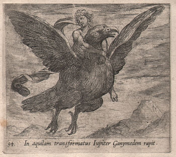 Antonio Tempesta (c.1655-1737) - Jupiter in the form of an eagle, carrying Ganymede - The Metamorphoses