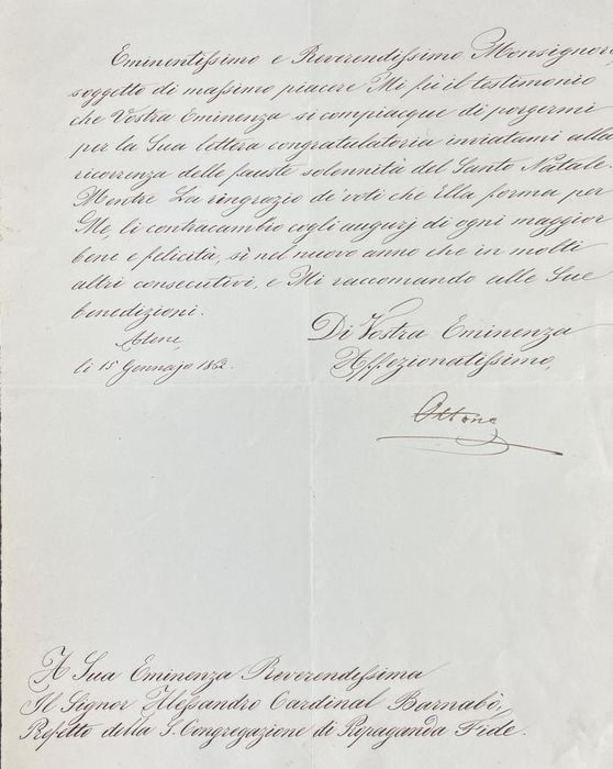 Otto of Wittelsbach First King of Greece - Autograph; Signed Letter from Atene of Prince of Bavaria - 1862