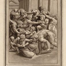 Raphael (1483-1520) after, Theophile Prestel (1739-1808) - The massacre of the innocents in a Chiaroscuro woodcut style etching.. Large folio etching.