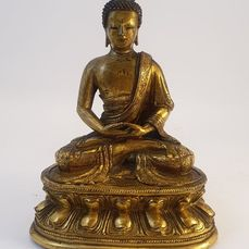 Sculpture (1) - Gilt bronze - Amitayus seduto - Tibet - 17th century