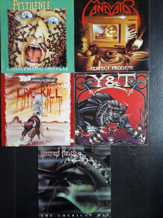 Various Artists/Bands in Hardrock-Heavy Metal, Pestilence - Mandator - Meliah Rage - Y & T - Sacred Reich - 5 Metal Album LPs - Multiple artists - Multiple titles - LP's - 1982/1990