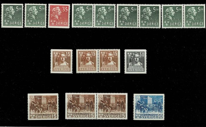 Zweden - Complete sets from 1940 with different perforations MNH - Unificato 277/290