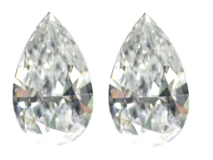 2 pcs Diamants - 2.17 ct - Poire - D (incolore) - IF (pas d'inclusions), GIA CERTIFIED