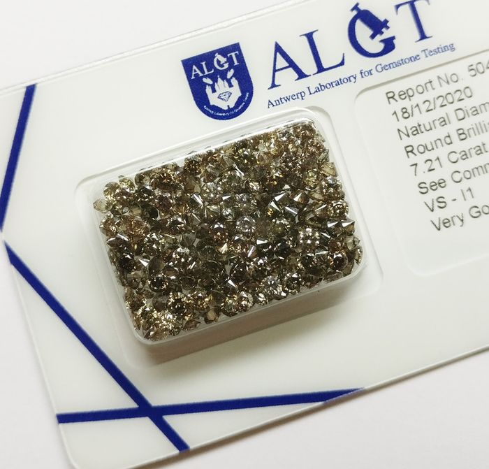 242 pcs Diamantes - 7.21 ct - Brillante redondo - Mixed Colors - VS-I1 - No Reserve Price