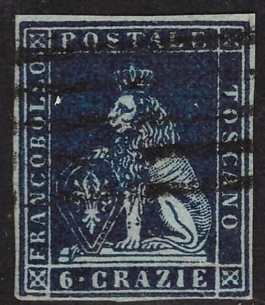 Italian Ancient States - Tuscany - 2 stamps of 6 crazie on azure paper - Sassone 7a, 7c