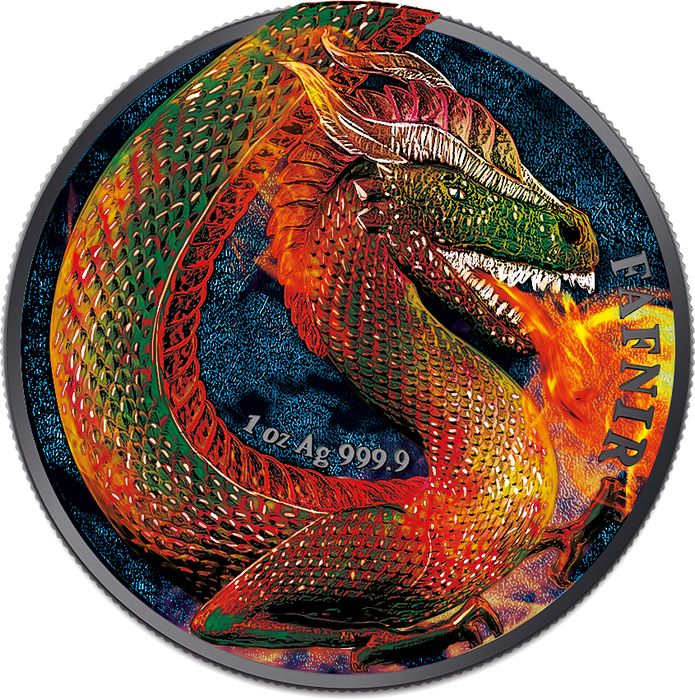 "Allemagne. 5 Mark 2020 - ""FAFNIR GEMINUS"" - Drago - Burning Color  - 1 Oz"