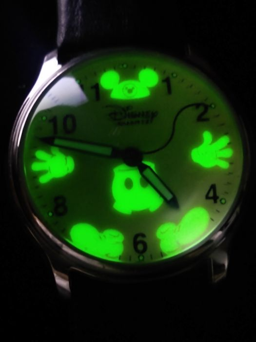Mickey Mouse - Rare Invisible Mickey Mouse Glow-in-the-Dark Wrist Watch with Silver Bezel & Leather Band