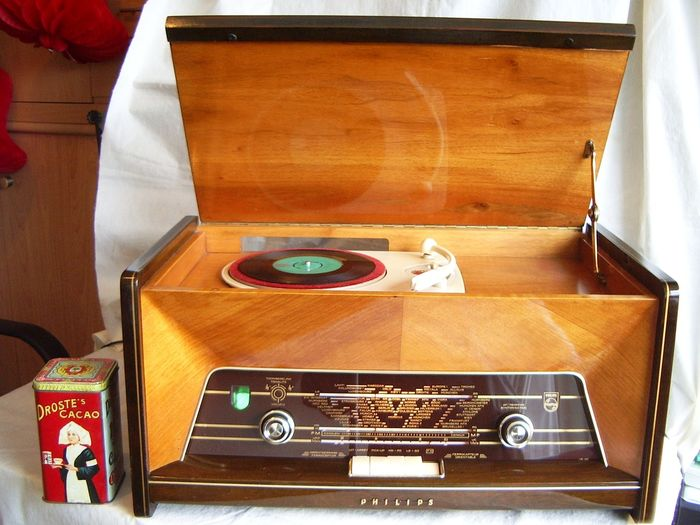 Philips - H4X74A in mooie kast - spelend - 1957 - Record player, Tube radio