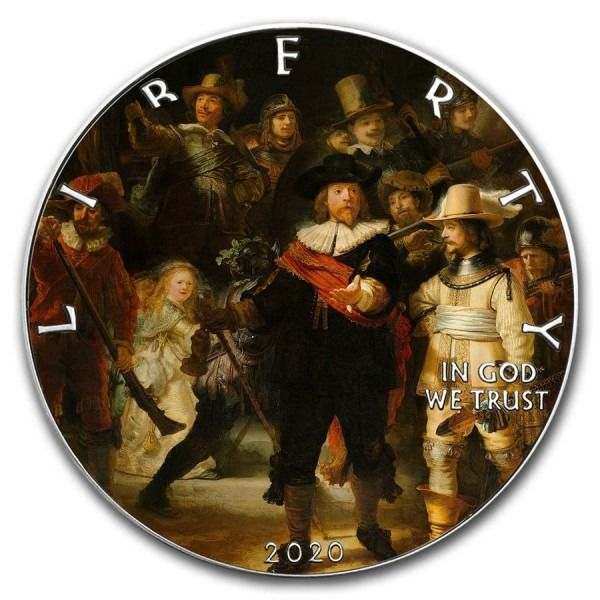 United States. 1 Dollar 2020 American Silver Eagle Rembrandt Night Watch Colorized  - 1 oz