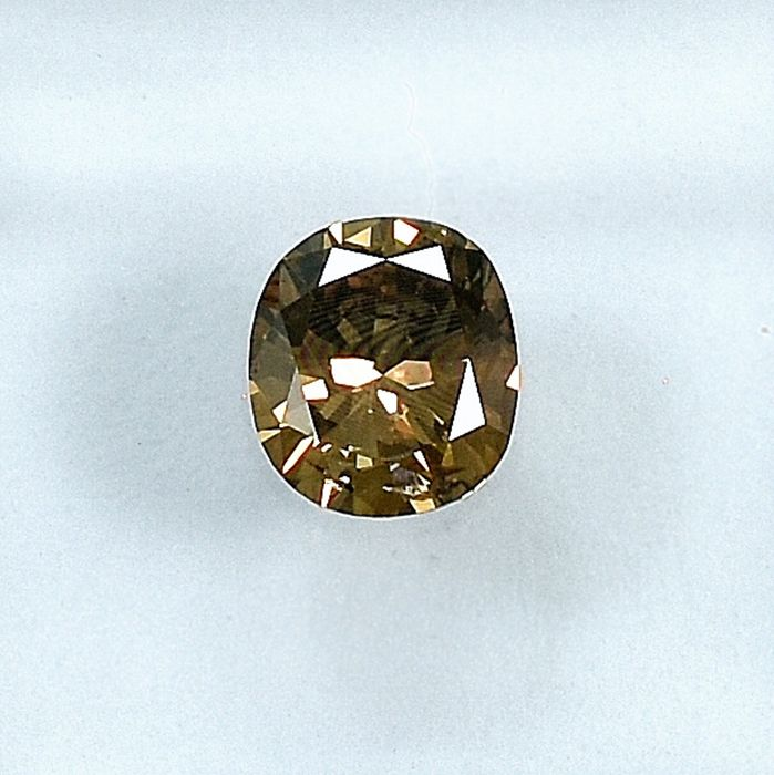 Diamant - 0.52 ct - Coussin - Natural Fancy Yellowish Brown - SI2