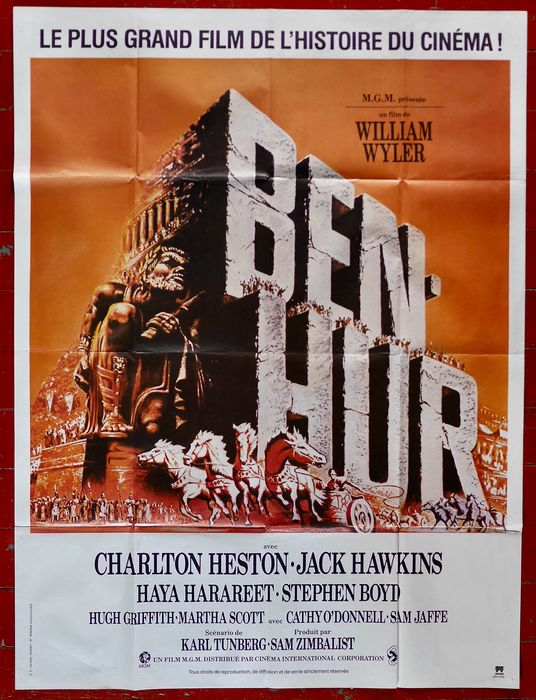 Ben Hur (1959) - Charlton Heston - Affiche, Original French Cinema re-release - 160x120 cm