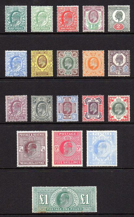 Großbritannien - KEVII Definitives and High Values 1/2d to £1