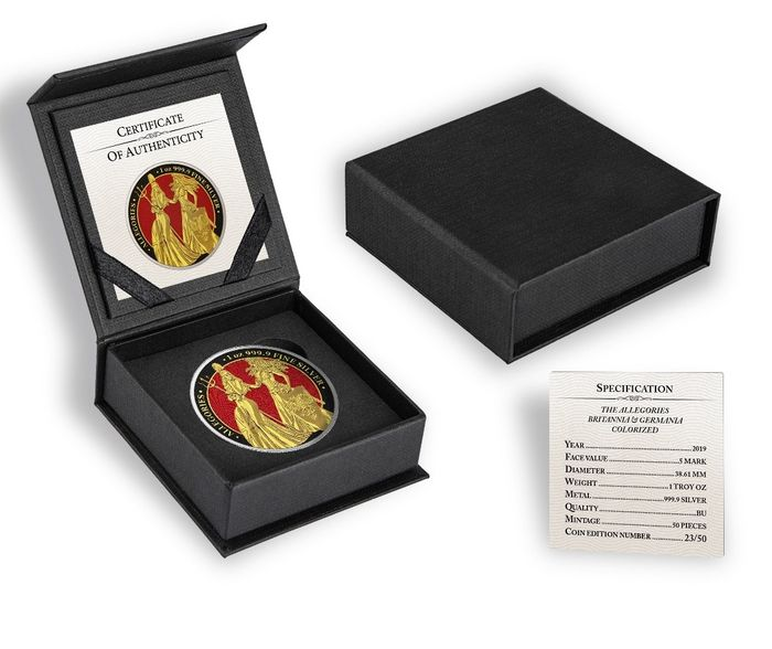 """Germany. 5 Mark 2019- """"The Allegories Britannia & Germania  Red Gold Black Colorized Edition"""" 1 oz"""