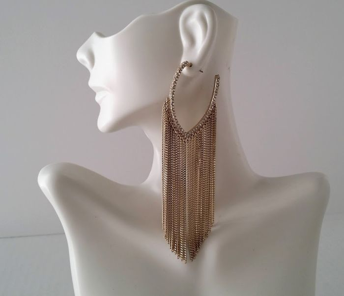 Givenchy - Chain Fringe Crystal Hoop - Boucles d'oreilles