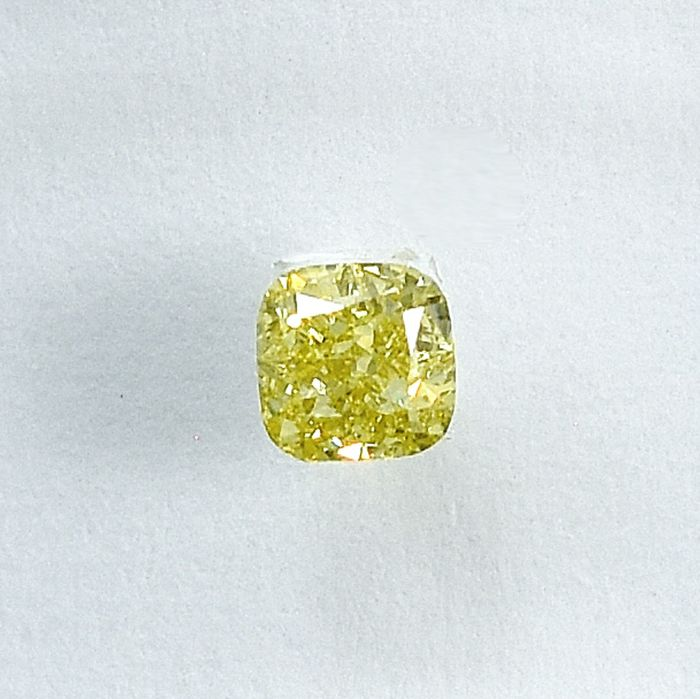 Diamant - 0.22 ct - Coussin - Natural Fancy Light Yellow - SI2