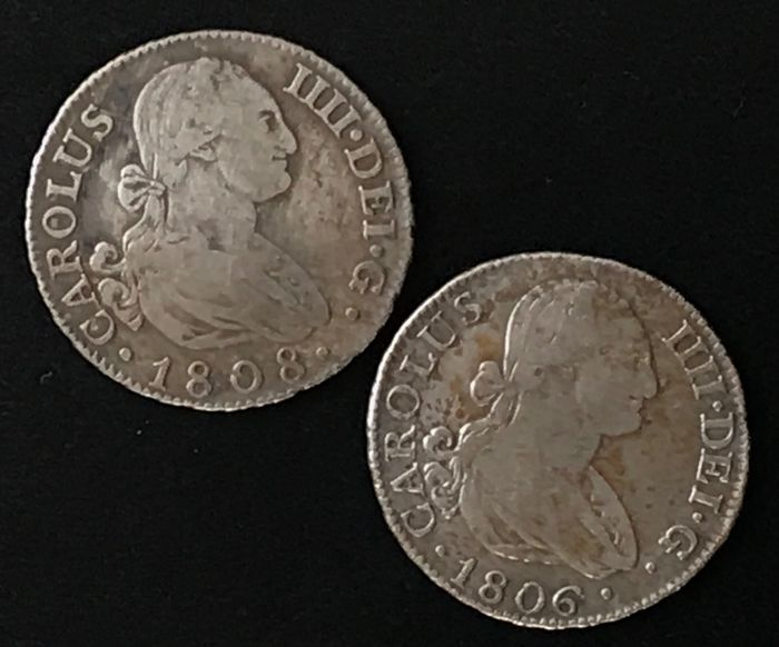 Spanje. Carlos IV (1788-1808). 2 Reales Lot of 2 coins