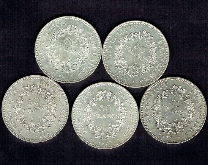 France. 50 Francs 1974/1979 (lot de 5 monnaies)