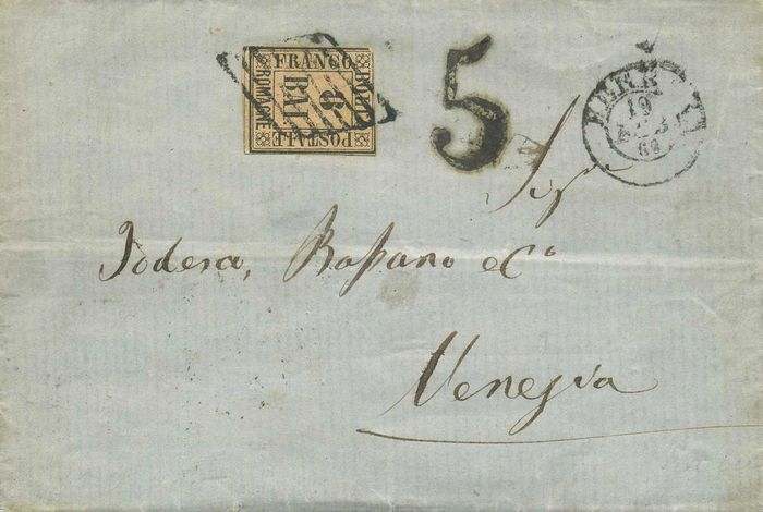 Italiaanse oude staten - Romagna 1859 - 8 baj pink on letter from Ferrara to Venice - Sassone N. 8