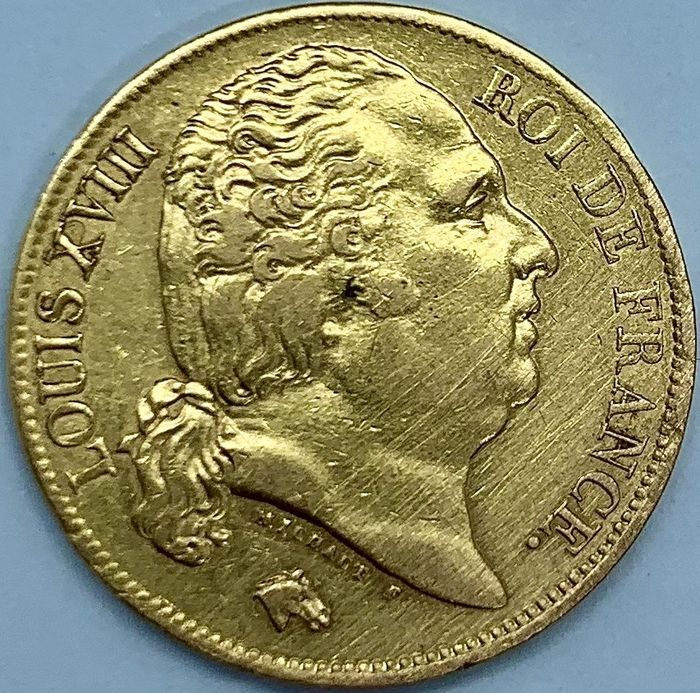 France. 20 Francs 1824 A Louis XVIII, buste Nu