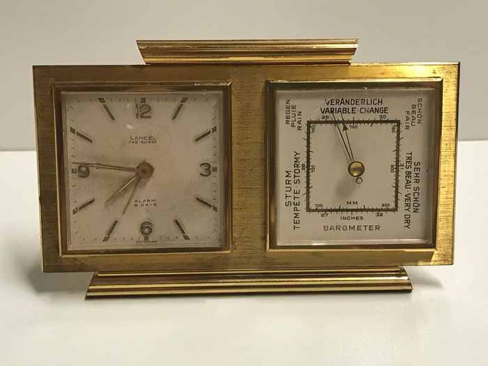 Lance Swiss l vintage Klok Barometer Thermometer Station Meteo - Lancel - Messing - Midden 20e eeuw