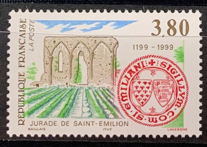 France 1999 - No. 3251a, rare variety, very shifted green colour. VF. - Yvert 3251a