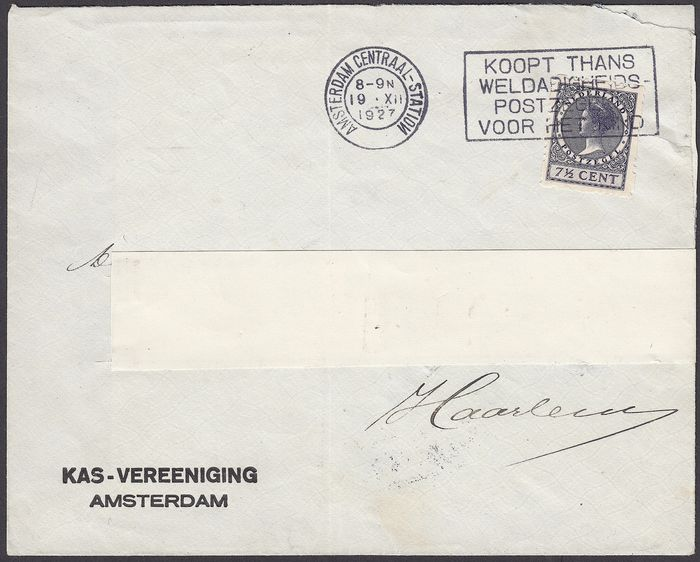 Netherlands 1927 - Three-holed four-sided syncopation on postal item - NVPH R32aa