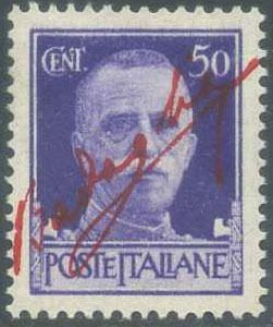 Italien 1943 - Imperial, 50 cents violet with overprint 'firma Badoglio' in carmine red - Sassone N. 251