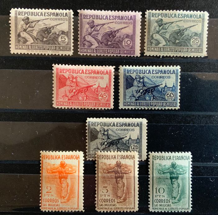 Spanien 1938 - Tribute to the Popular Army. Well centred. - Edifil 792/800