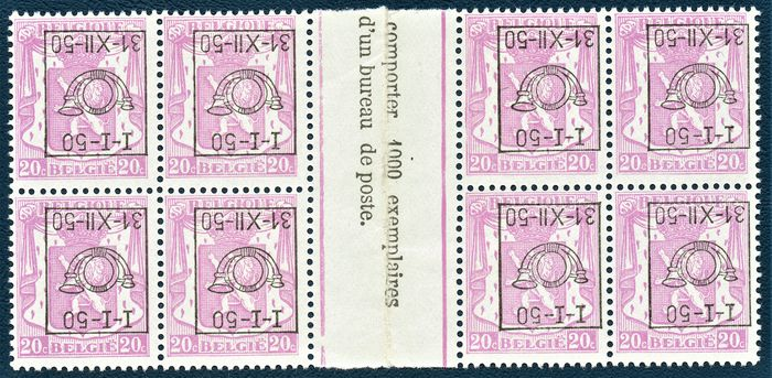 Belgium 1950 - Pre-postmarked inverted overprint, gutter pair, catalogue value: 680 euros - OBP / COB PRE601-CU