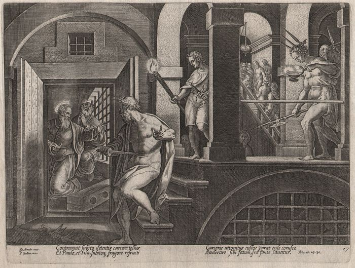 Johannes  Stradanus (1523-1605) - St Paul and the conversion of the Warder