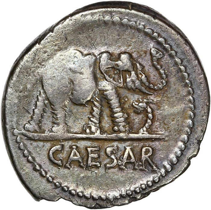 Roman Republic (Imperatorial). Julius Caesar. AR Denarius,  military mint traveling with Caesar. 49-48 BC