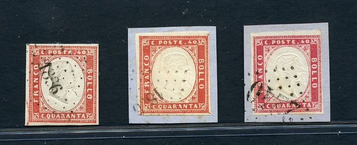 Anciens états italiens - Sardaigne 1861 - 3 values (40 c.) with French cancellations - Sassone NN. 16