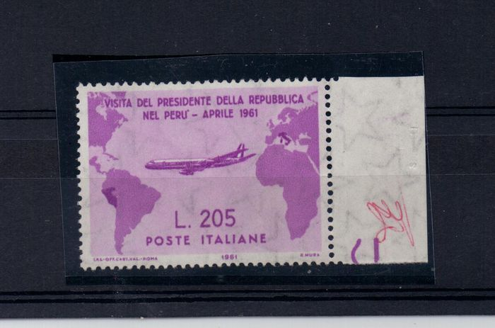 Italien 1961 - Republic - Gronchi Rosa MNH with side tab