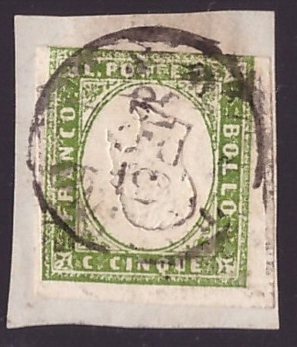 Italienische antike Staaten - Sardinien 1855 - 5 cents green yellow, 4th issue with inverted effigy - Sassone N. 13Ad