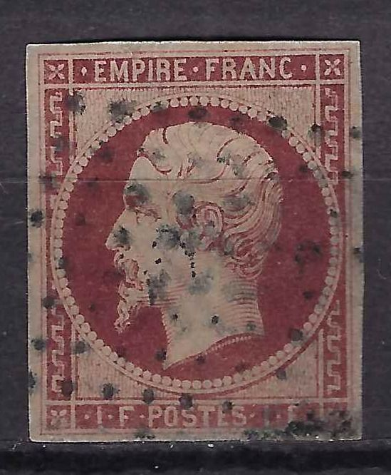 France 1853 - Empire - 1 franc crimson - Signed Brun and with Calves certificate. - Yvert 18