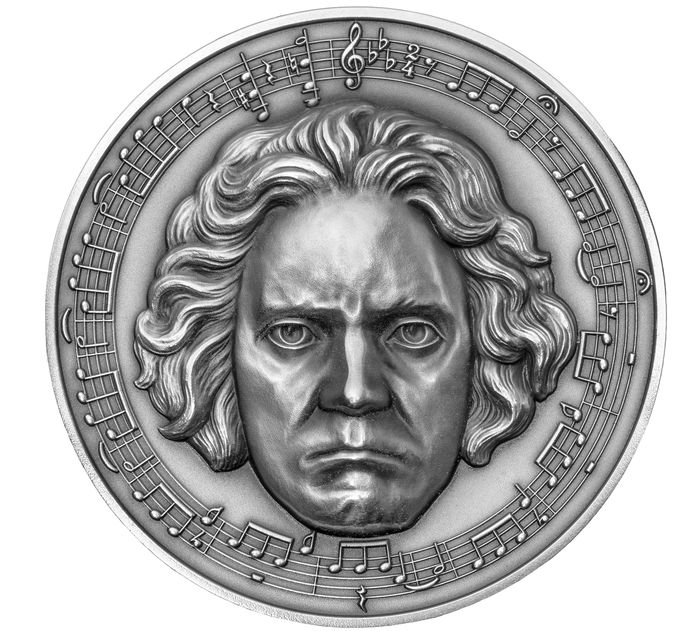 Kameroen. 3000 Francs 2020 BEETHOVEN 250th Anniversary 3 Oz