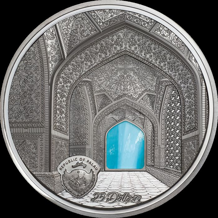 Palau. 25 Dollars 2020 Black Proof - TIFFANY ART Isfahan 5 Oz
