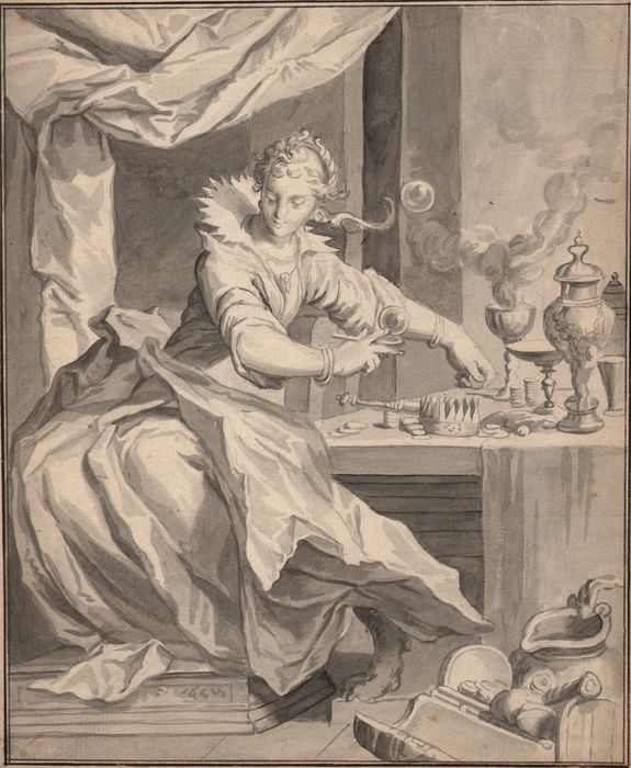 Follower of Abraham Bloemaert (1566-1651) - Vanitas: Young woman blowing soap bubbles