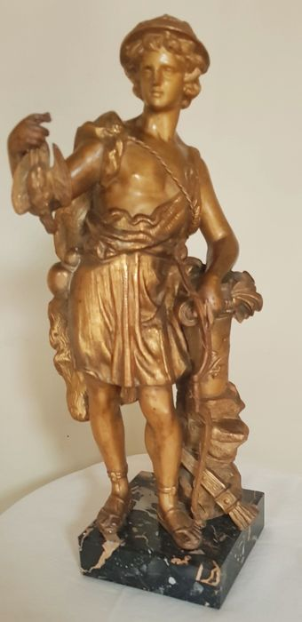 Beeld, Artemis depicted as a hunter - Neoklassiek - Brons (verguld) - Eind 19e eeuw