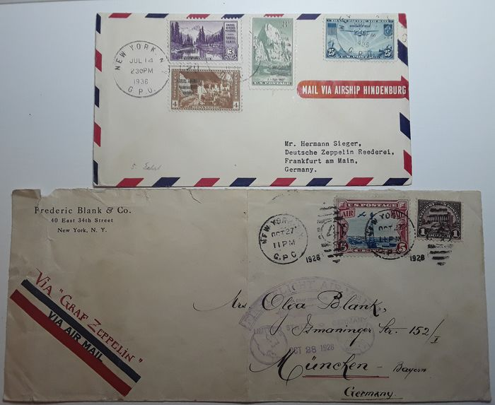 United States of America - 2 Zeppelin documents - American Post 1928 / 1936