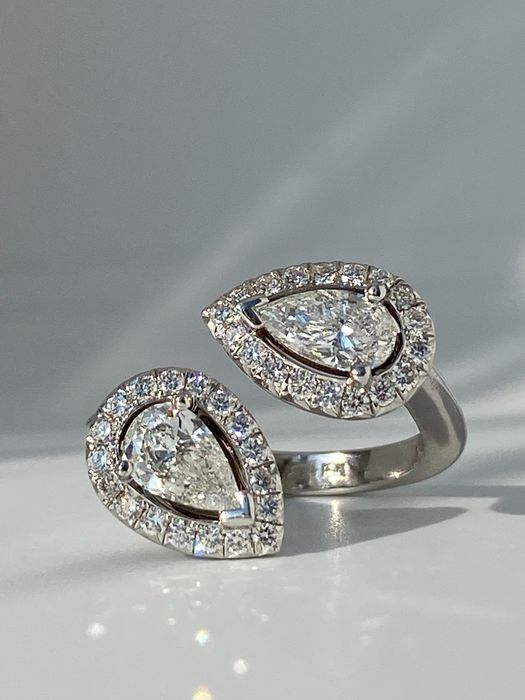 18 quilates Oro blanco - Anillo - 1.04 ct Diamante - Diamantes