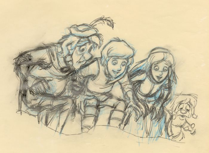 Disney Studios - Original production drawing - Taran, Princesse Eilonwy,Fflewddur Fflam and Gurgi - Uniek exemplaar - (1985)